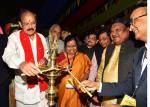 """The Vice President, Shri M. Venkaiah Naidu lighting the lamp to inaugurate the """"Aadi Mahotsav"""" a Mega fortnight long National Tribal festival with the theme: A celebration of the spirit of Tribal culture, cuisine & commerce, in New Delhi on November 16, 2017. The Union Minister for Tribal Affairs, Shri Jual Oram, the Minister of State for Tribal Affairs, Shri Sudarshan Bhagat, the Secretary, Ministry of Tribal Affairs, Ms. Leena Nair and the Managing Director, TRIFED, Shri Pravir Krishna are also seen."""