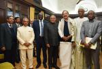 The Vice President and the Chairman, Rajya Sabha, Shri. M. Venkaiah Naidu with a delegation lead by the President of the High Court of Justice, Mr. Abdrahamane Niang along with two other Members of Parliament of Mali, in New Delhi on December 21, 2017. The Deputy Chairman, Rajya Sabha, Dr. P.J. Kurien and other dignitaries are also seen.