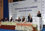 The Vice President, Shri M. Venkaiah Naidu addressing the Conference on Jobs & Livelihood Creation - Critical Growth Enablers, organized by the NITI Aayog and the CII, in New Delhi on February 08, 2018. The Union Minister for Rural Development, Panchayat Raj and Mines, Shri Narendra Singh Tomar, the Minister of State (I/C) for Micro, Small and Medium Enterprises, Shri Giriraj Singh, the CEO of NITI Aayog, Shri Amitabh Kant and other dignitaries are also seen.
