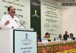 The Vice President, Shri M. Venkaiah Naidu addressing the gathering at the Valedictory of Golden Jubilee celebrations of the Press Council of India, on the occasion of the National Press Day, in New Delhi on November 16, 2017. The Union Minister for Textiles and Information & Broadcasting, Smt. Smriti Irani and other dignitaries are also seen.