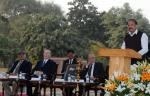 The Vice President, Shri M. Venkaiah Naidu addressing the gathering after inaugurating the heritage garden complex Sunder Nursery, in New Delhi on February 21, 2018. His Highness Prince Karim Aga Khan and the Lieutenant Governor of Delhi, Shri Anil Baijal are also seen.