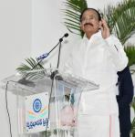 The Vice President, Shri M. Venkaiah Naidu addressing the gathering after inaugurating a Medical Camp, Launching L&T Smart World to Communication, GATI Driver's Training Institute, at Swarna Bharat Trust Campus, in Hyderabad on October 26, 2017.
