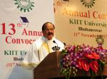 The Vice President, Shri M. Venkaiah Naidu delivering the convocational address of the 13th Annual Convocation of Kalinga Institute of Industrial Technology University, in Bhubaneswar on November 11, 2017.