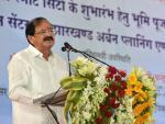The Vice President, Shri M. Venkaiah Naidu addressing the gathering after performing Bhoomi Poojan for the Ranchi Smart City and unveiling the plaque for Urban Civic Tower, in Ranchi, Jharkhand on September 09, 2017.