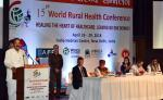 """The Vice President, Shri M. Venkaiah Naidu addressing the 15th World Rural Health Conference with the theme """"Healing the Heart of Healthcare - Leaving no one behind"""", in New Delhi on April 26, 2018. The Minister of State for Health & Family Welfare, Shri Ashwini Kumar Choubey and other dignitaries are also seen."""