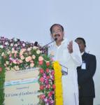 The Vice President, Shri M. Venkaiah Naidu addressing the gathering after inaugurating the ICSI Centre of Excellence, in Hyderabad on September 16, 2017. The Deputy Chief Minister of Telangana, Shri Mohammad Mahmood Ali and other dignitaries are also seen.