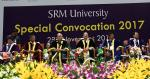 The Vice President, Shri M. Venkaiah Naidu at the Special Convocation 2017 of SRM University, in Chennai on November 23, 2017. The Governor of Tamil Nadu, Shri Banwarilal Purohit, the Minister for Higher Education, Tamil Nadu, Shri K.P. Anbalagan and other dignitaries are also seen.