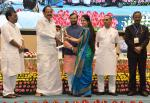 The Vice President, Shri M. Venkaiah Naidu presenting National Award to Teachers - 2016 on the occasion of Teachers' Day, in New Delhi on September 05, 2017. The Union Minister for Human Resource Development, Shri Prakash Javadekar, the Ministers of State for Human Resource Development, Shri Upendra Kushwaha, Dr. Satyapal Singh and the Secretary, Department of School Education & Literacy, Shri Anil Swarup are also seen.