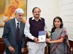 The Vice President, Shri M. Venkaiah Naidu receiving the first copy of the Book 'Journey of Women Law Reforms and The Law Commission of India – Some Insights', from the Author, Dr. Pavan Sharma, in New Delhi on November 17, 2017.