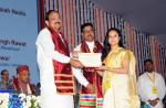 The Vice President, Shri M. Venkaiah Naidu presenting degrees to students at the 2nd Convocation of Swami Rama Himalayan University, in Dehradun, Uttarakhand on December 05, 2017. The Chief Minister of Uttarakhand, Shri Trivender Singh Rawat and other dignitaries are also seen.