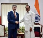 The Minister for Foreign Affairs and Trade Promotion of the Republic of Malta, Mr. Carmelo Abela calling on the Vice President, Shri M. Venkaiah Naidu, in New Delhi on March 05, 2018.