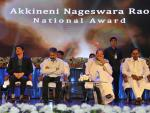 The Vice President, Shri M. Venkaiah Naidu at an event to present Akkineni Nageswara Rao National Film Award, in Hyderabad on September 17. 2017. The Chief Minister of Telangana, Shri Chandrashekar Rao, Film Actor, Shri Akkineni Nagarjuna and other dignitaries are also seen.