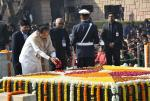 The Vice President, Shri M. Venkaiah Naidu paying floral tributes at the Samadhi of Mahatma Gandhi on the occasion of Martyr's Day, at Rajghat, in Delhi on January 30, 2018.