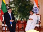 The Minister of Foreign Affairs of Lithuania, Mr. Linas Linkevičius calling on the Vice President, Shri M. Venkaiah Naidu, in New Delhi on October 09, 2017.
