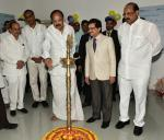 The Vice President, Shri M. Venkaiah Naidu lighting the lamp to inaugurate Medical Camp, Launch of L&T Smart World to Communication, GATI Driver's Training Institute, at Swarna Bharat Trust Campus, in Hyderabad on October 26, 2017. The Deputy Chief Minister of Telangana, Shri Mohammad Mahmood Ali, the Minister for Irrigation, Marketing & Legislative Affairs, Telangana, Shri T. Harish Rao and the Minister for Health and Medical Education, Andhra Pradesh, Shri Kamineni Srinivas are also seen.