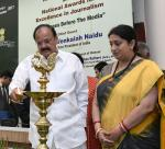 The Vice President, Shri M. Venkaiah Naidu lighting the lamp at the Valedictory of Golden Jubilee celebrations of the Press Council of India, on the occasion of the National Press Day, in New Delhi on November 16, 2017. The Union Minister for Textiles and Information & Broadcasting, Smt. Smriti Irani is also seen.