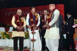 The Vice President, Shri M. Venkaiah Naidu lighting the lamp at the 19th Convocation of Chandra Shekhar Azad University of Agriculture and Technology, in Kanpur, Uttar Pradesh on December 04, 2017. The Governor of Uttar Pradesh, Shri Ram Naik, the Minister for Agriculture, Uttar Pradesh, Shri Surya Pratap Shahi and other dignitaries are also seen.