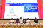 """The Vice President, Shri M. Venkaiah Naidu launching the National Teachers Portal """"DIKSHA"""" on the occasion of Teachers' Day, in New Delhi on September 05, 2017. The Union Minister for Human Resource Development, Shri Prakash Javadekar, the Ministers of State for Human Resource Development, Shri Upendra Kushwaha, Dr. Satyapal Singh and the Secretary, Department of School Education & Literacy, Shri Anil Swarup are also seen."""