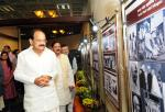 The Vice President, Shri M. Venkaiah Naidu looking at the Exhibition on Sardar Patel at Nehru Memorial Museum & Library, in New Delhi on October 31, 2017. The Minister of State for Culture (I/C) and Environment, Forest & Climate Change, Dr. Mahesh Sharma is also seen.