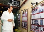 The Vice President, Shri M. Venkaiah Naidu looking at the Exhibition on Sardar Patel at Nehru Memorial Museum & Library, in New Delhi on October 31, 2017.