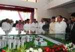 The Vice President, Shri M. Venkaiah Naidu looking at the model of new campus of Vellore Institute of Technology, in Amaravati, Andhra Pradesh on November 28, 2017. The Chief Minister of Andhra Pradesh, Shri N. Chandrababu Naidu and other dignitaries are also seen.