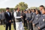 The Vice President, Shri M. Venkaiah Naidu meeting the National Service Scheme (NSS) Volunteers who participated in Republic Day Parade 2018, in New Delhi on January 28, 2018. The Minister of State for Youth Affairs and Sports (I/C) and Information & Broadcasting, Col. Rajyavardhan Singh Rathore and other dignitaries are also seen.