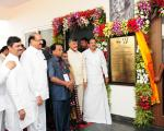 The Vice President, Shri M. Venkaiah Naidu unveiling the plaque to inaugurate the Hostel building at the new campus of Vellore Institute of Technology, in Amaravati, Andhra Pradesh on November 28, 2017. The Chief Minister of Andhra Pradesh, Shri N. Chandrababu Naidu and other dignitaries are also seen.