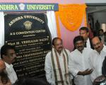 The Vice President, Shri M. Venkaiah Naidu unveiling the plaque to inaugurate the Andhra University Convention Centre, in Visakhapatnam, Andhra Pradesh on December 09, 2017. The Minister for Health & Medical Education, Andhra Pradesh, Dr. Kamineni Srinivas, the Minister for Education, Andhra Pradesh, Shri Ganta Srinivasa Rao and other dignitaries are also seen.