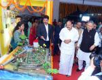 The Vice President, Shri M. Venkaiah Naidu visiting the Stalls set up at the State Formation Day Celebrations of Chhattisgarh, in Raipur, Chhattisgarh on November 01, 2017. The Chief Minister of Chhattisgarh, Dr. Raman Singh is also seen.