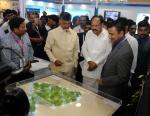 The Vice President, Shri M. Venkaiah Naidu visiting the Exhibition on AP AgTech Summit 2017, in Vizag, Andhra Pradesh on November 15, 2017. The Chief Minister of Andhra Pradesh, Shri N. Chandrababu Naidu and other dignitaries are also seen.