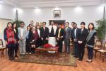 The Vice President, Shri M. Venkaiah Naidu with the members of faculty and students from Harvard, Stanford and MIT of the USA, in New Delhi on December 27, 2017.